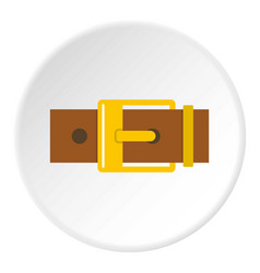 Belt with yellow square buckle icon circle vector