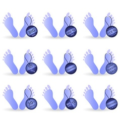Big sale set of tag label on blue humanoid foot vector