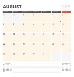 calendar planner for august 2018 design template vector image
