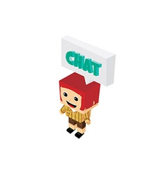 chat bubble cartoon character isometric theme vector image