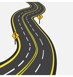 Curved road with yellow markings vector image vector image