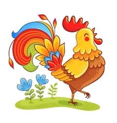 Cute cartoon rooster vector image vector image