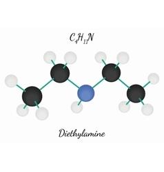 Diethylamine c4h11n molecule vector