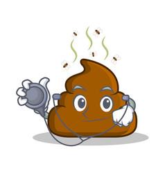 Doctor poop emoticon character cartoon vector