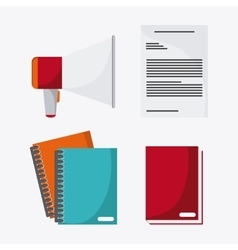 Document megaphone book notebook icon vector