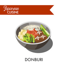 Donburi japanese cuisine traditional meat rice vector