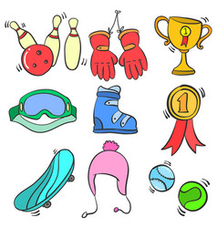 Doodle sport equipment various style vector