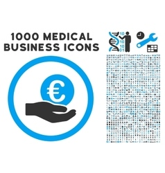 Euro salary hand icon with 1000 medical business vector