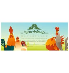 farm animal and rural landscape with chickens vector image vector image