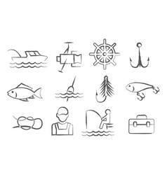 Fishing doodle icons vector