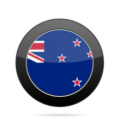Flag of new zealand shiny black round button vector