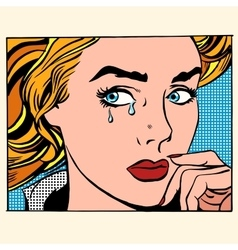 Girl crying woman face vector image vector image