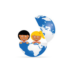 globe with children cartoon vector image