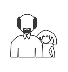 Grandfather and granddaughter lovely outline vector