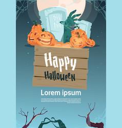 happy halloween party banner pumpkins on cemetery vector image vector image