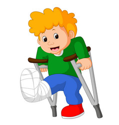 Little man with broken leg vector