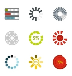 Loading and waiting icons set flat style vector