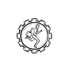 Man running in the gear hand drawn sketch icon vector