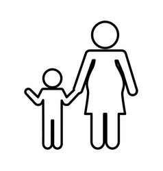 mother with son silhouette isolated icon vector image vector image