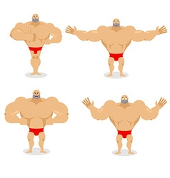 Muscled set poses Expression of emotions athlete vector image