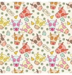 Pattern of cheerful muzzles cow vector