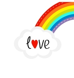 Rainbow on the corner and cloud in the sky dash vector