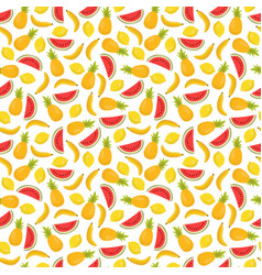 Seamless pattern with bananas pineapples and vector