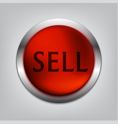 Sell red button realistic vector