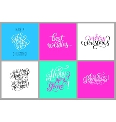 set of colorful hand lettering christmas phrase vector image vector image