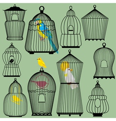 Set of decorative bird cage Silhouettes and birds vector image vector image