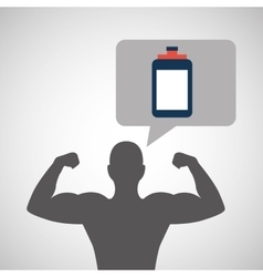 silhouette man bodybuilder bottle vector image
