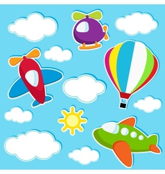 sky with air transport stickers vector image vector image