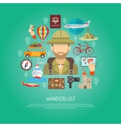 Travel flat color concept vector