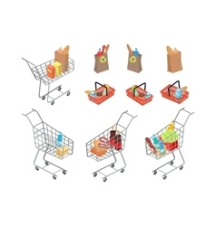 Variety of bags and trolleys in supermarket vector