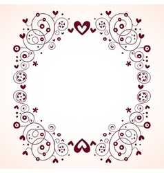 Vintage hearts and flowers frame vector