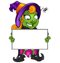 Witch Grinning Holding A Board vector image vector image