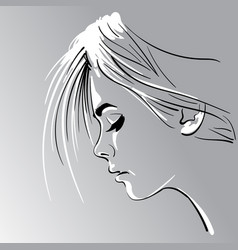 woman s face silhouette in backlight vector image