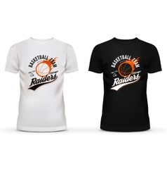 White and black t-shirt with basketball ball and vector