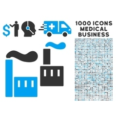 Industry icon with 1000 medical business symbols vector