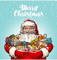 Merry christmas santa claus and gifts vector
