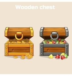 Opened treasure chest with coins and diamonds vector