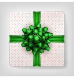 Gift box with green ribbon eps 10 vector