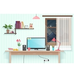 Modern teenager girl room with workplace woman vector