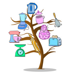 Kitchen set tree style design vector