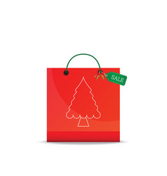 Christmas shopping bag isolated on white vector
