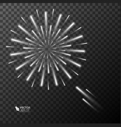 Abstract golden fireworks explosion on transparent vector