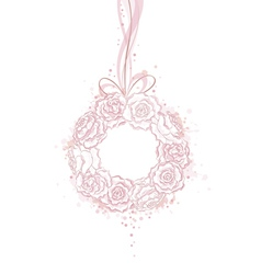 Wedding decorative wreath of roses with copy space vector