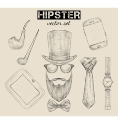 Hand drawn hipster accessories set vector image