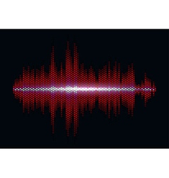 Red sound waveform with hex grid light filter vector