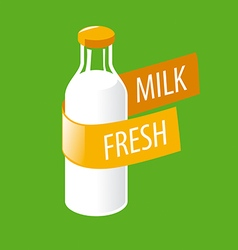 Logo glass bottle with milk vector